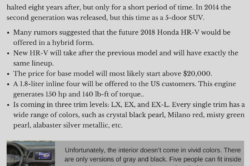 2018 Honda HR V 250x166